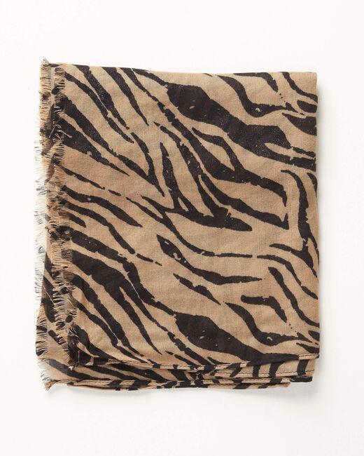 Camelfarbenes Halstuch mit Zebraprint Ange (2) - 1-2-3