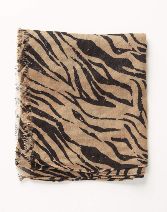 Camel sjaaltje met zebraprint Ange (1) - Maison 123