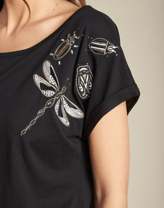 Tee-shirt noir à broderies manches courtes Epirrhoe PhotoZ | 1-2-3