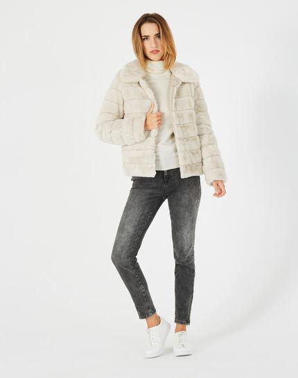 Laura ecru faux fur reversible jacket (1) - 1-2-3