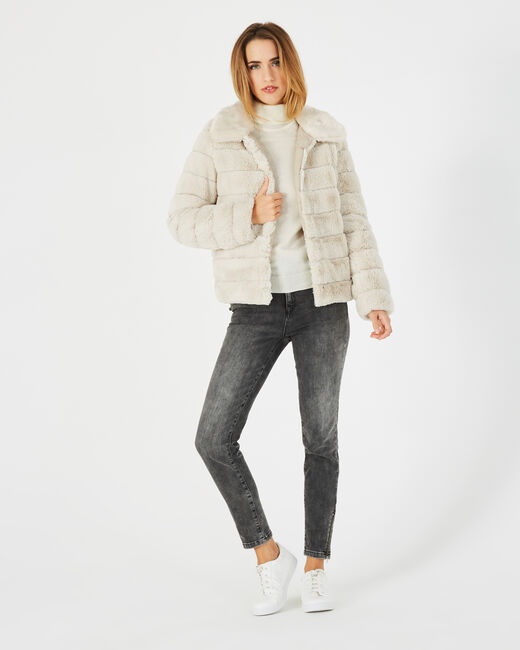 Laura ecru faux fur reversible jacket (2) - 1-2-3