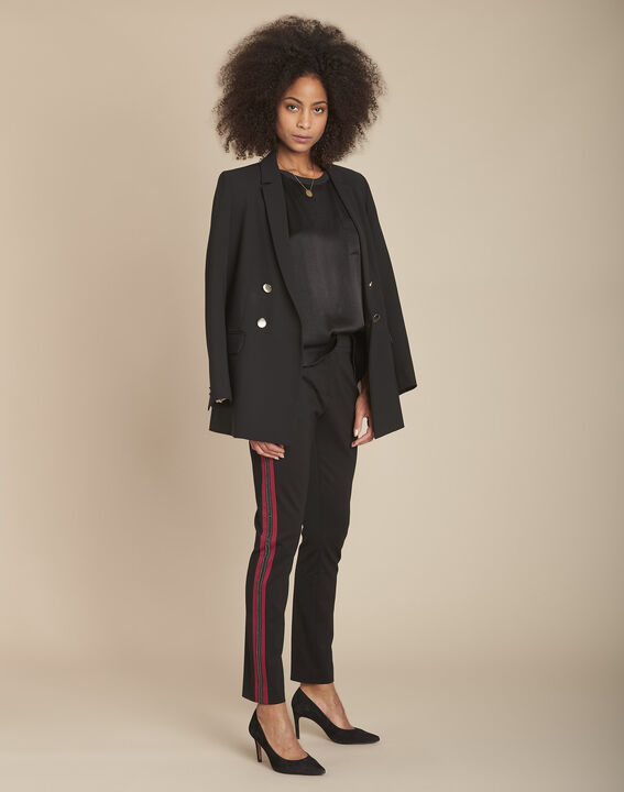 Pantalon noir milano cropped bande fantaisie Elane PhotoZ   1-2-3
