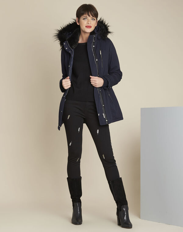 Pikou navy hooded faux fur parka (2) - 1-2-3