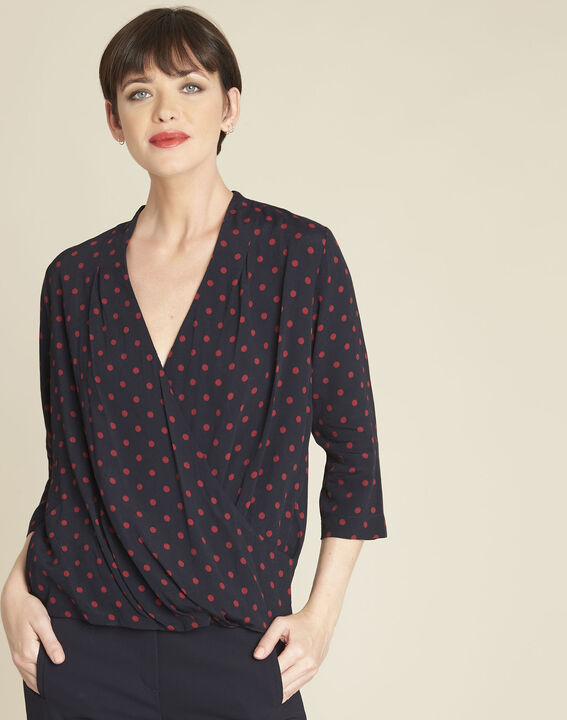 Calme navy polka dot crossover blouse PhotoZ | 1-2-3