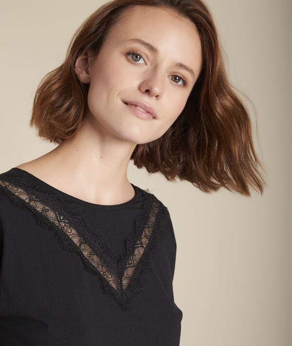 Tee-shirt noir encolure dentelle Clelia PhotoZ | 1-2-3