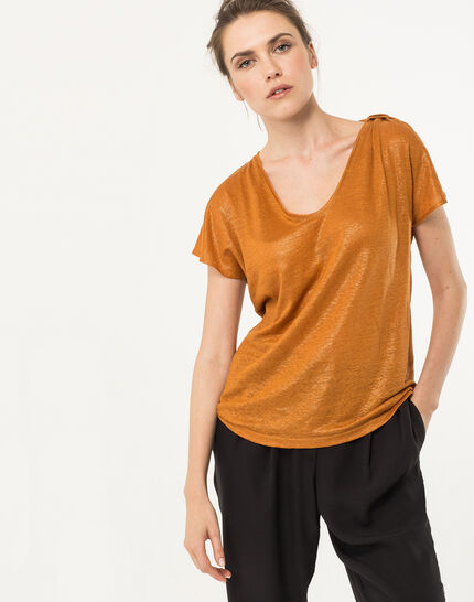 Tee-shirt ocre en lin Nuba PhotoZ | 1-2-3