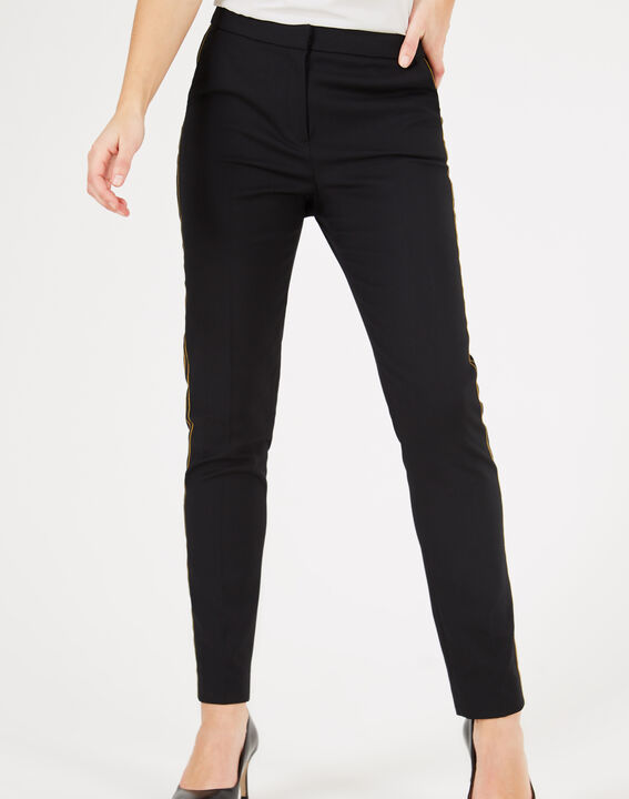 Pantalon de tailleur noir à bandes Voda (3) - 1-2-3