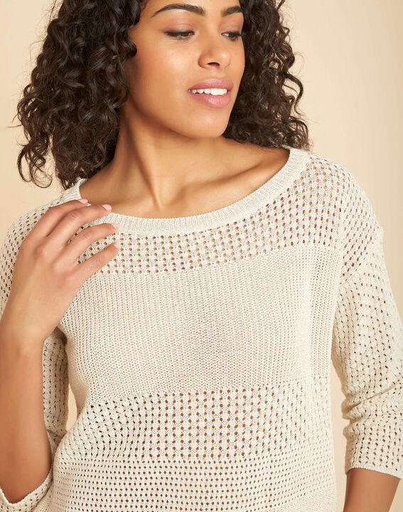 Nirvana golden shiny sweater in an openwork knit PhotoZ | 1-2-3