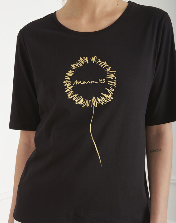 Tee-shirt noir motif floral Palais (3) - Maison 123