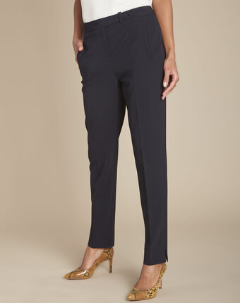 Lara navy slim-cut microfibre trousers navy.