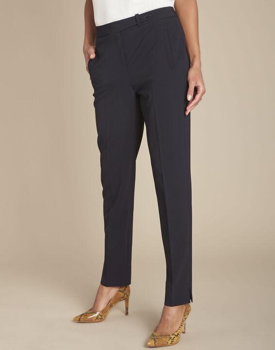 Lara navy slim-cut microfibre trousers PhotoZ | 1-2-3