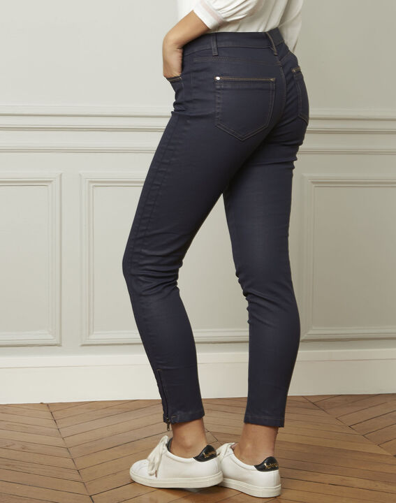 Opera navy blue 7/8 length coated jeans (3) - 1-2-3
