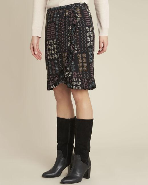 Zwarte rok met print en volants Anis (2) - 37653