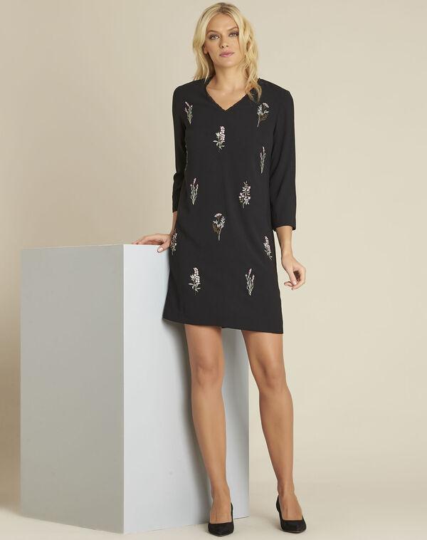 Schwarzes Kleid mit Spitze und Stickerei Drew (2) - 1-2-3