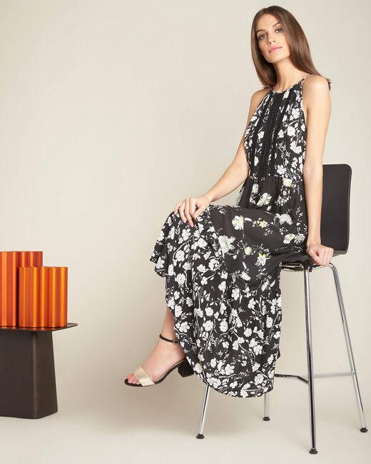 Robe noire longue imprimé fleuri Idole (1) - 1-2-3