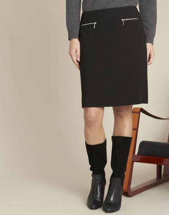 Black A-line viscose-blend skirt (1) - 1-2-3