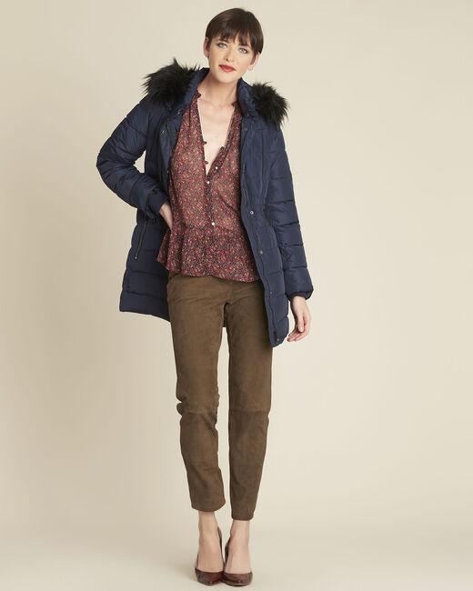 Perrine navy faux fur hooded down jacket (1) - 1-2-3