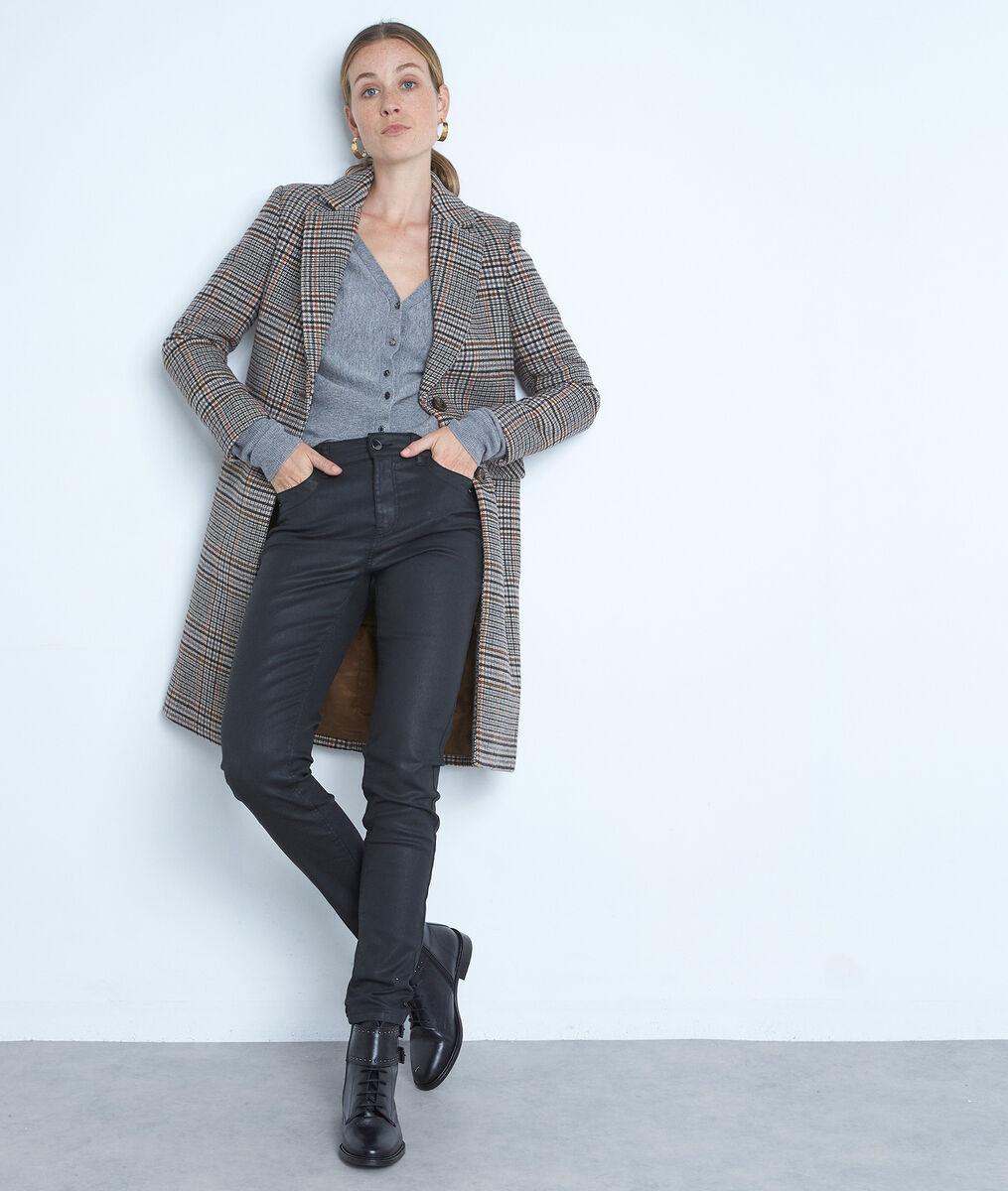 Cardigan en laine recyclée au decolleté plongeant gris Tess PhotoZ | 1-2-3