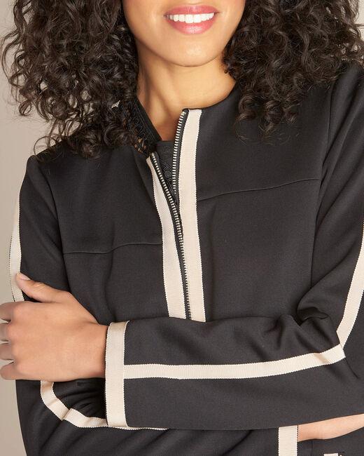 Manteau coupe droite bicolore noir et beige Kolin (2) - 1-2-3