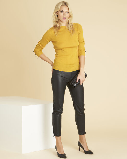 Bassus ochre fine-knit sweater with buttoned sleeves (1) - 1-2-3