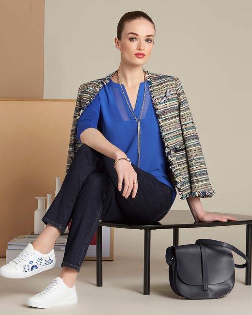 Bianca royal blue dual-fabric T-shirt with fishnet neckline (2) - 1-2-3