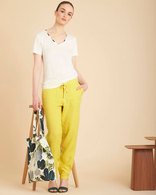 Joris yellow trousers in linen (1) - 1-2-3