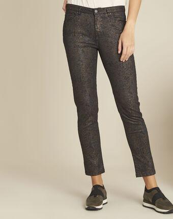Vendome black slim-cut 7/8-length printed jeans black.