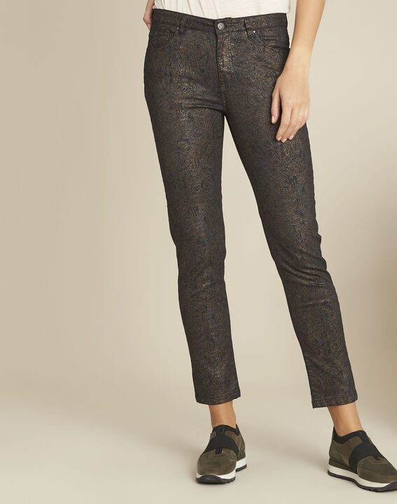 Vendome black slim-cut 7/8-length printed jeans PhotoZ | 1-2-3