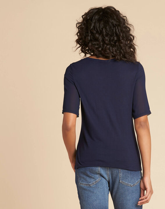 Eclipse navy blue polka dot T-shirt with beading and Georgette sleeves (4) - 1-2-3