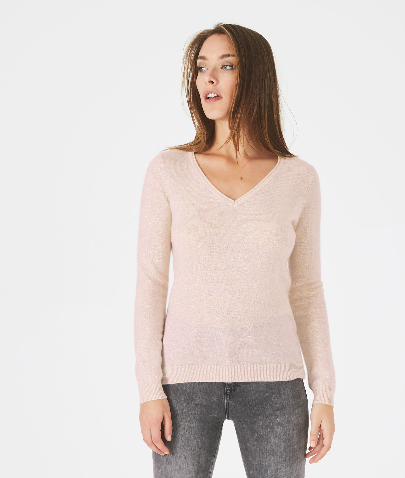 Paquerette powder pink, cashmere sweater with V-neck - 123
