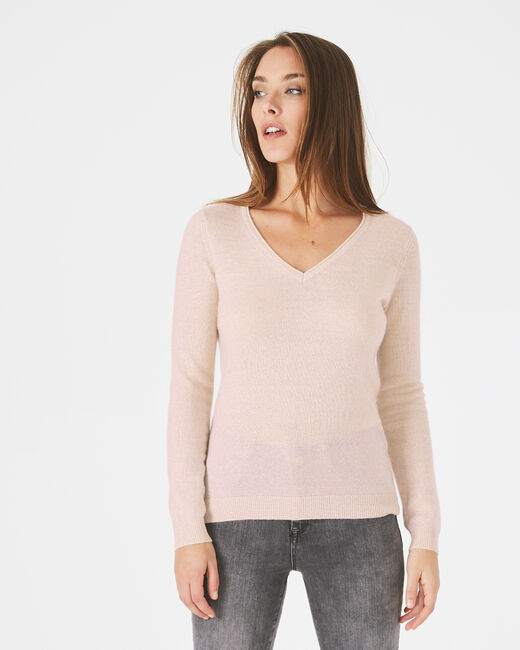 Paquerette powder pink, cashmere sweater with V-neck (1) - 1-2-3