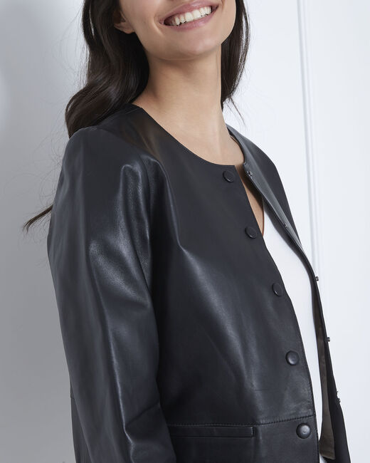 Thea short black lambskin jacket (2) - 1-2-3
