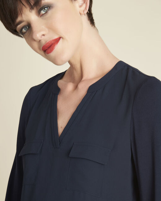 Genna navy, dual-fabric blouse with pockets  (2) - 1-2-3