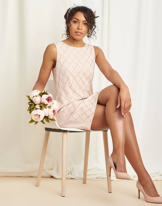 Robe rose pale brodée clous Isaure (2) - 1-2-3