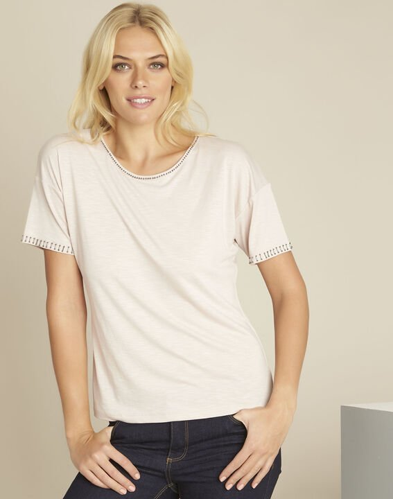 Tee-shirt rose encolure fantaisie Gilda (1) - 1-2-3