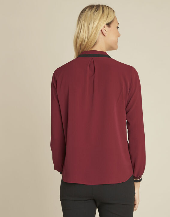 Cordelia red blouse with a decorative neckline (4) - 1-2-3