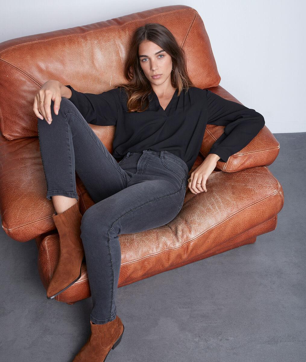 Slim en coton gris foncé Nora avec détail lurex PhotoZ | 1-2-3