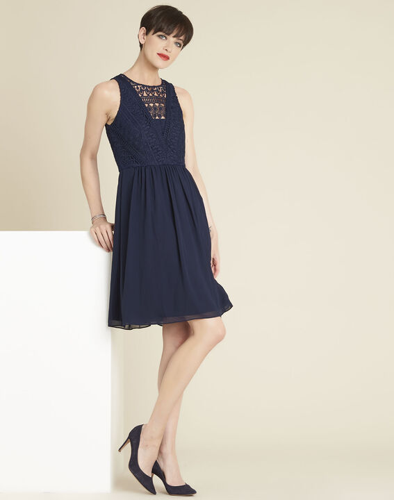 Ibiza navy blue dress with lace at the neckline (3) - 1-2-3
