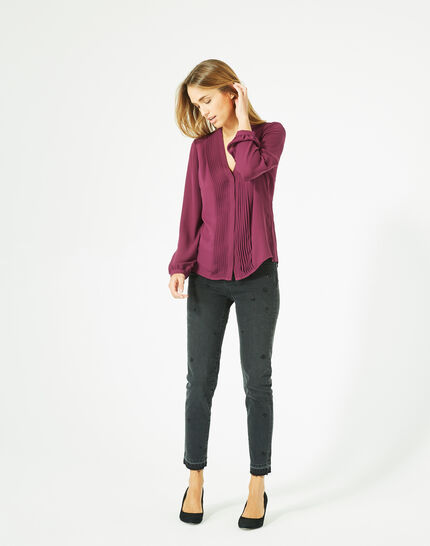 Doris blackcurrant blouse with long sleeves PhotoZ | 1-2-3