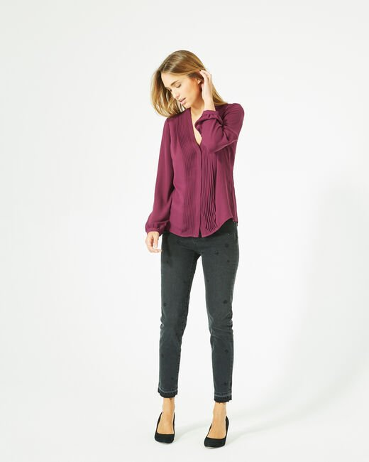 Doris blackcurrant blouse with long sleeves (2) - 1-2-3