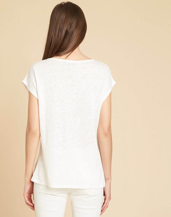 Ecrufarbenes Leinen-T-Shirt mit Nieten-Motiven Emireille (4) - 1-2-3