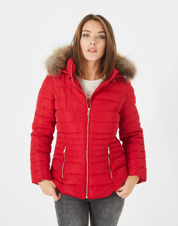 Rosie short red puffer jacket with hood (3) - 1-2-3
