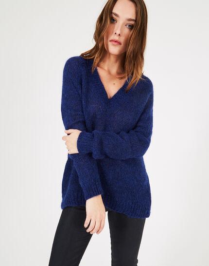 Königsblauer Pullover mit V-Ausschnitt aus grobem Strick Paprika (3) - 1-2-3