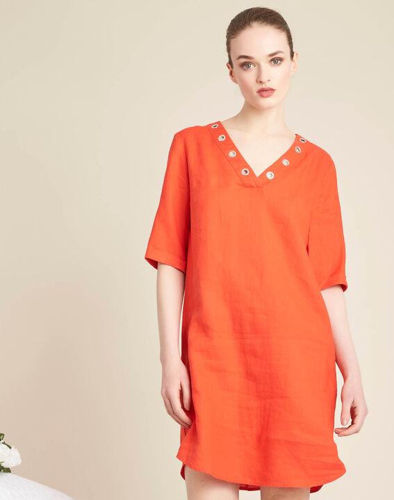 Pavot orange linen dress with eyelets on the neckline (3) - 1-2-3