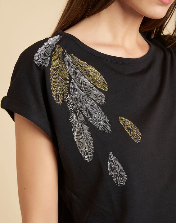 Epine black T-shirt with feather embroidery PhotoZ | 1-2-3