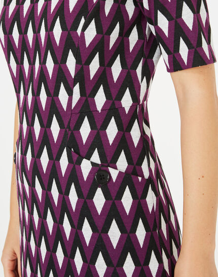 Anémone blackcurrant jacquard dress (3) - 1-2-3