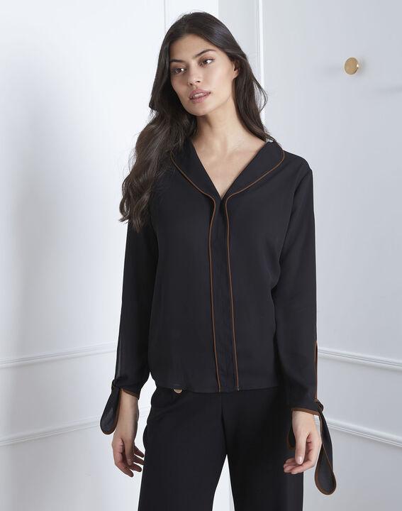 Schwarze Hemdbluse mit kontrastfarbenem Schrägband Victoire PhotoZ | 1-2-3