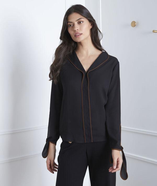 Zwart overhemd met contrasterende bies Victoire PhotoZ | 1-2-3