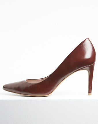 Escarpins marrons bout pointu en cuir kelly terracotta.