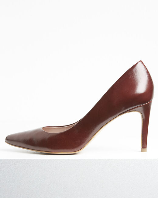 Escarpins marrons bout pointu en cuir Kelly (1) - 1-2-3